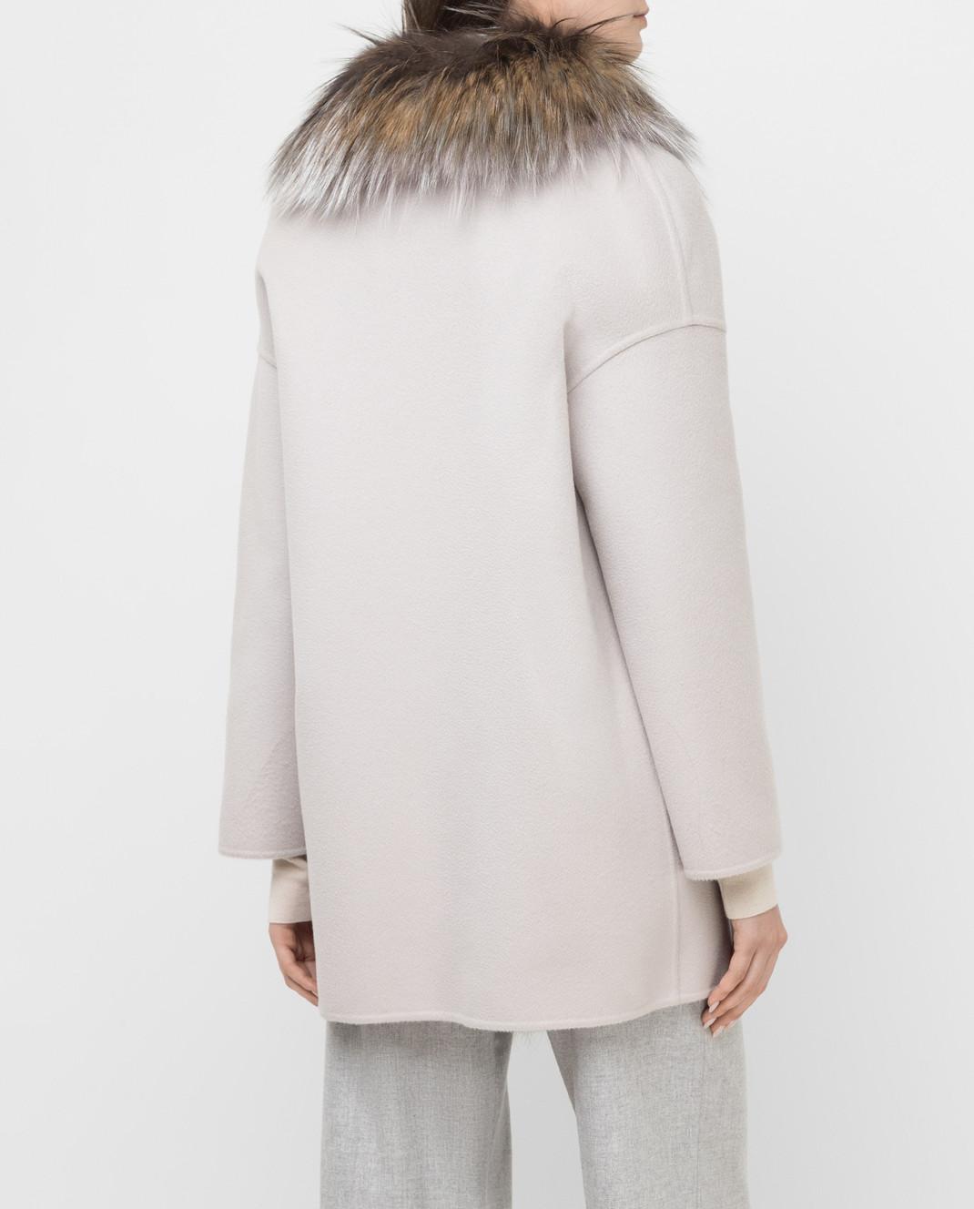 Rindi Серое пальто из кашемира с мехом лисы 298TE017 изображение 4