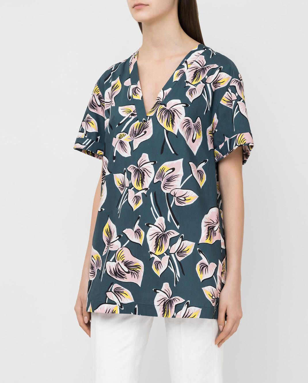 Marni Темно-бирюзовая рубашка CAMAT40A00TCT37 изображение 3