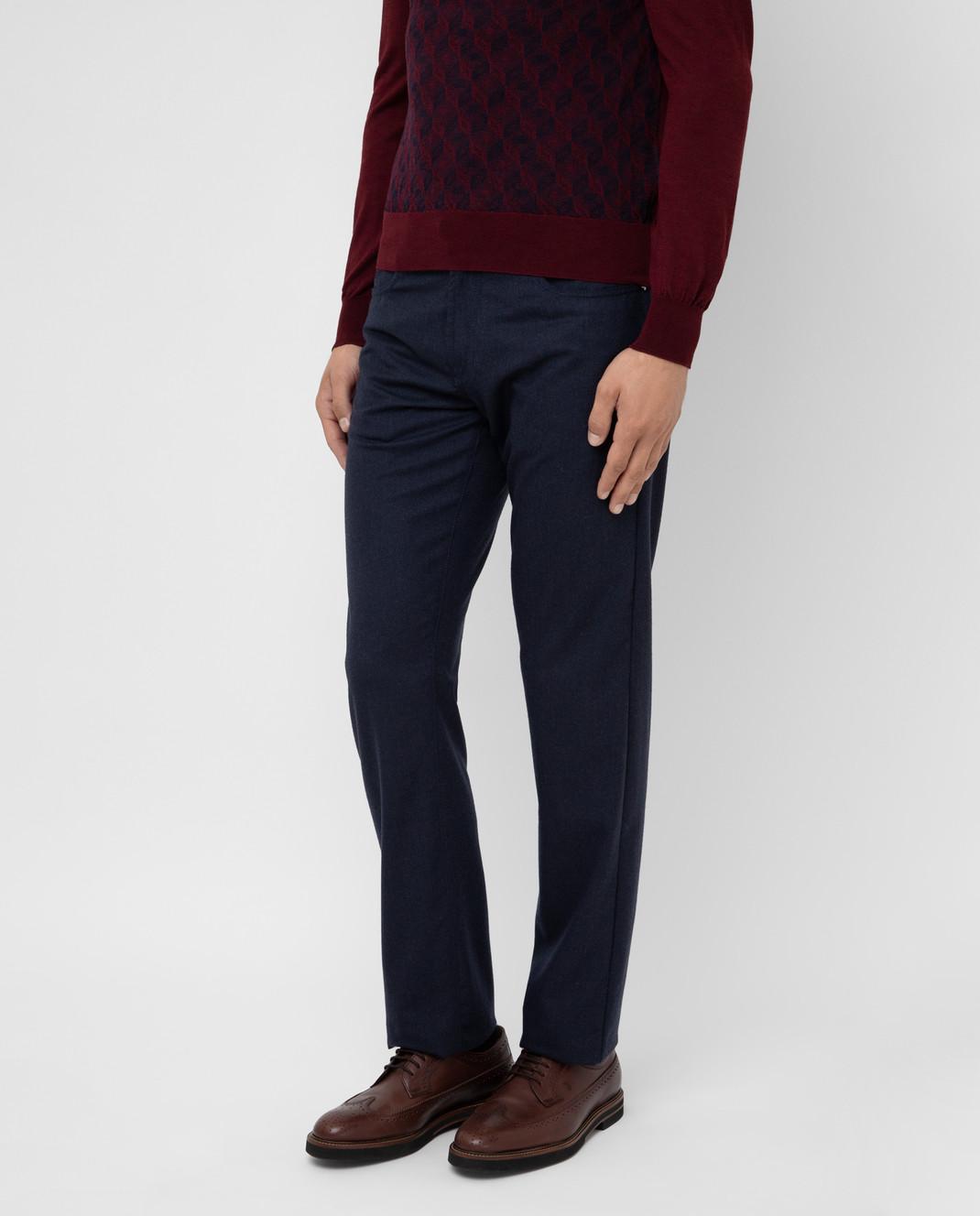 Scissor Scriptor Темно-синие брюки из шерсти изображение 3