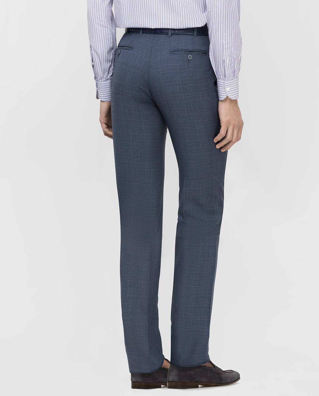 ISAIA Синие брюки из шерсти 0073153629F изображение 4