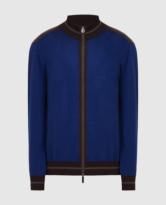 Темно-синяя спортивная кофта из шерсти и шелка