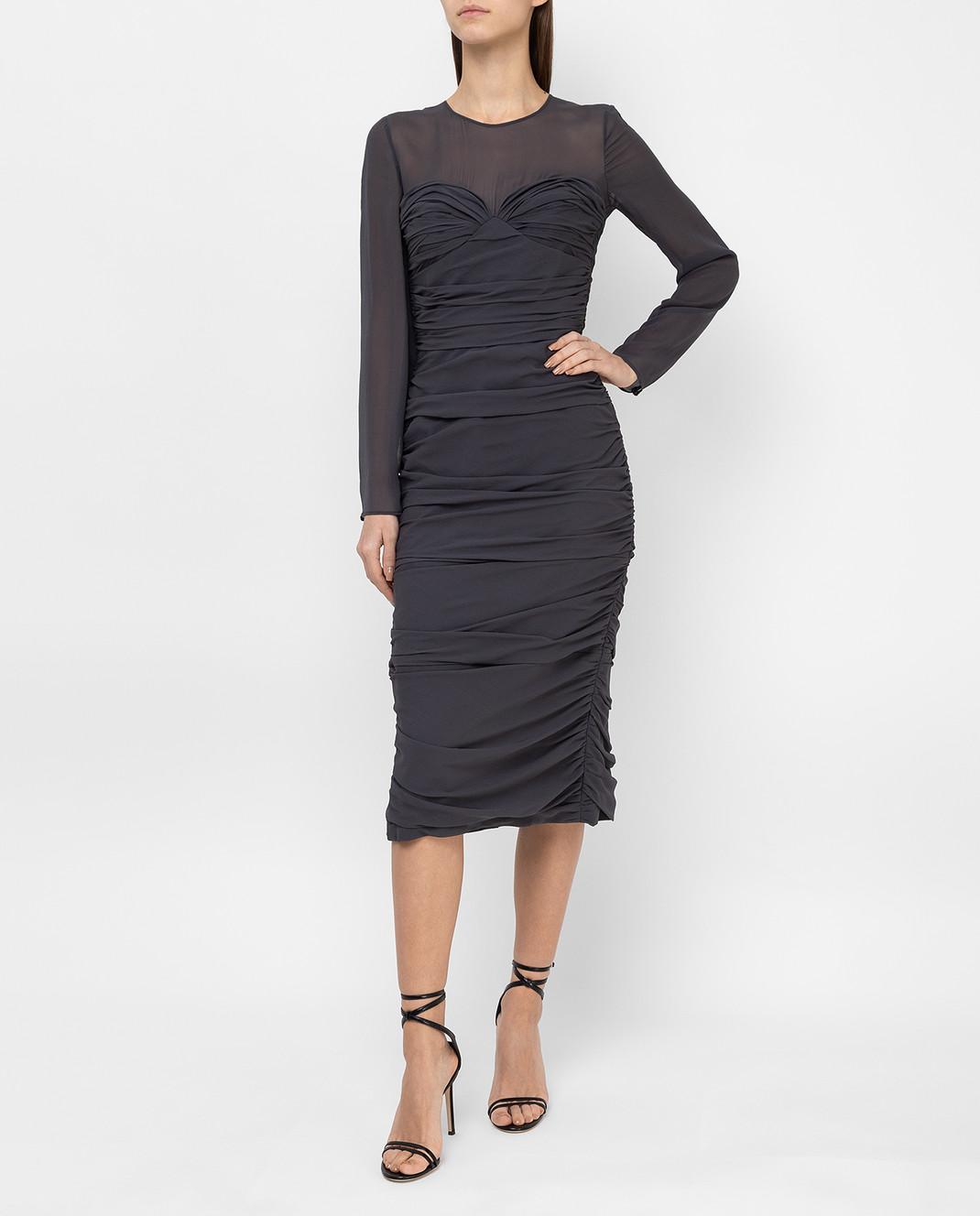 Max Mara Темно-серое платье из шелка ODER изображение 2