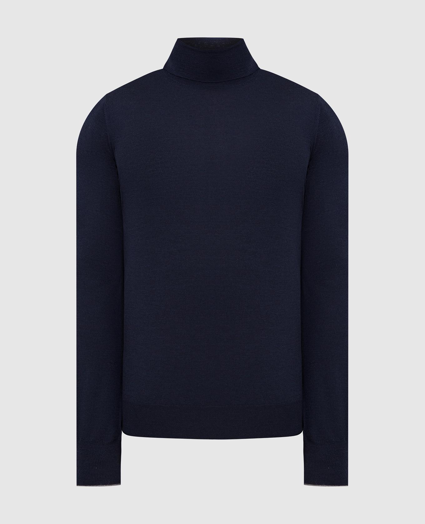 Темно-синий гольф из вирджинской шерсти и кашемира Brunello Cucinelli