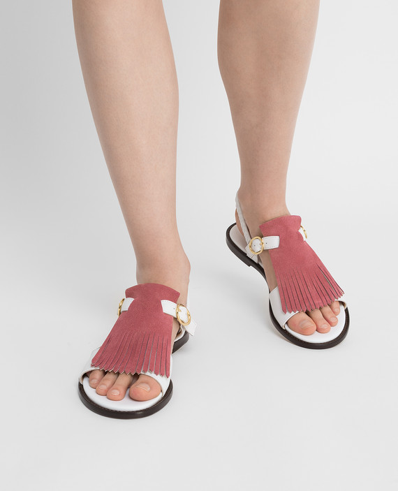 Белые кожаные сандалии hover