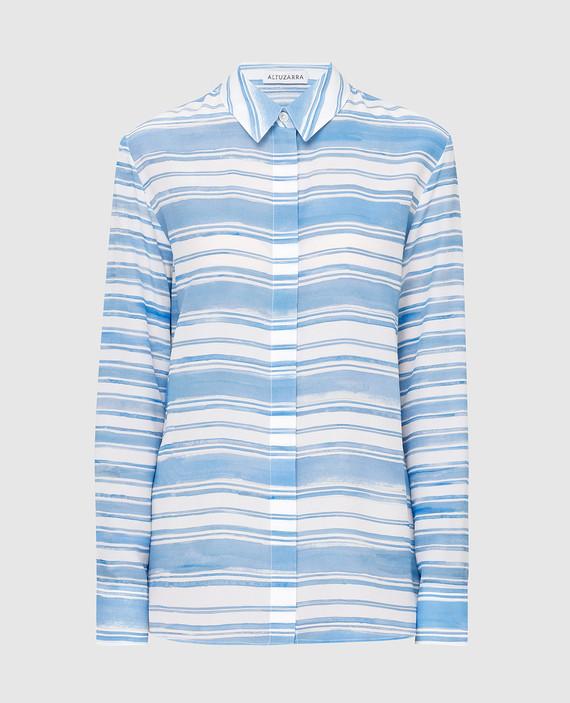 Голубая рубашка из шелка