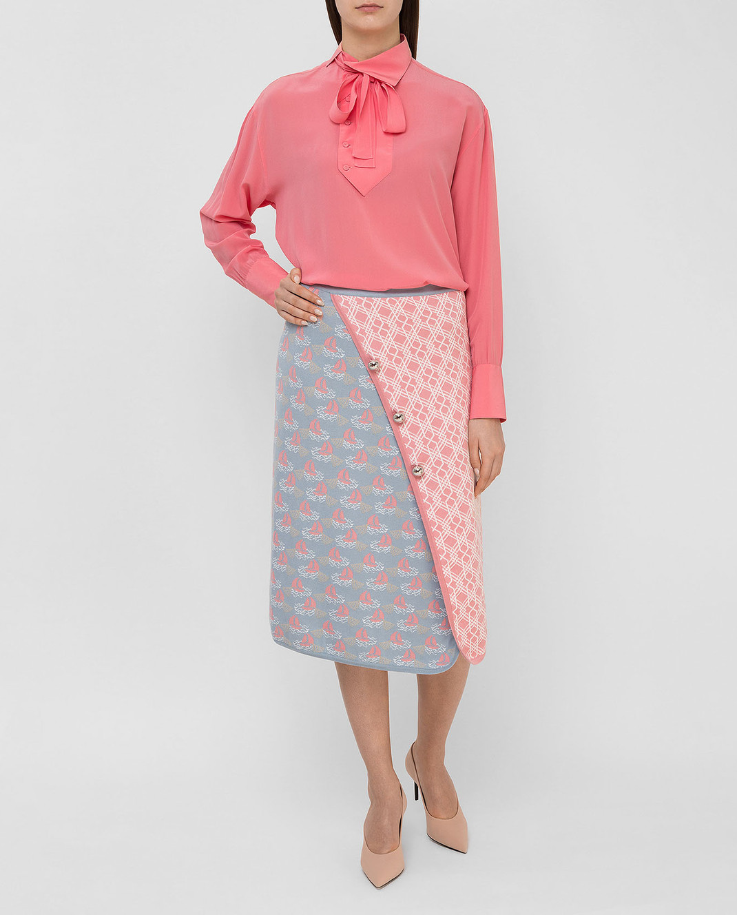 Valentino Коралловая блуза из шелка MB0AB08F21B изображение 2