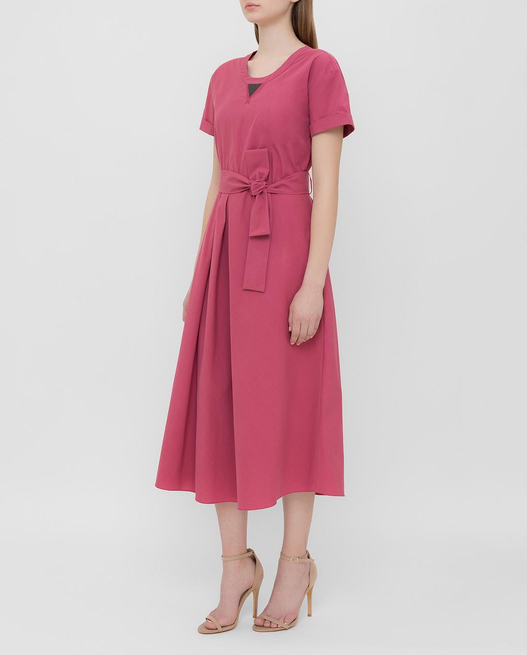 Brunello Cucinelli Розовое платье MH127ABV72 изображение 3