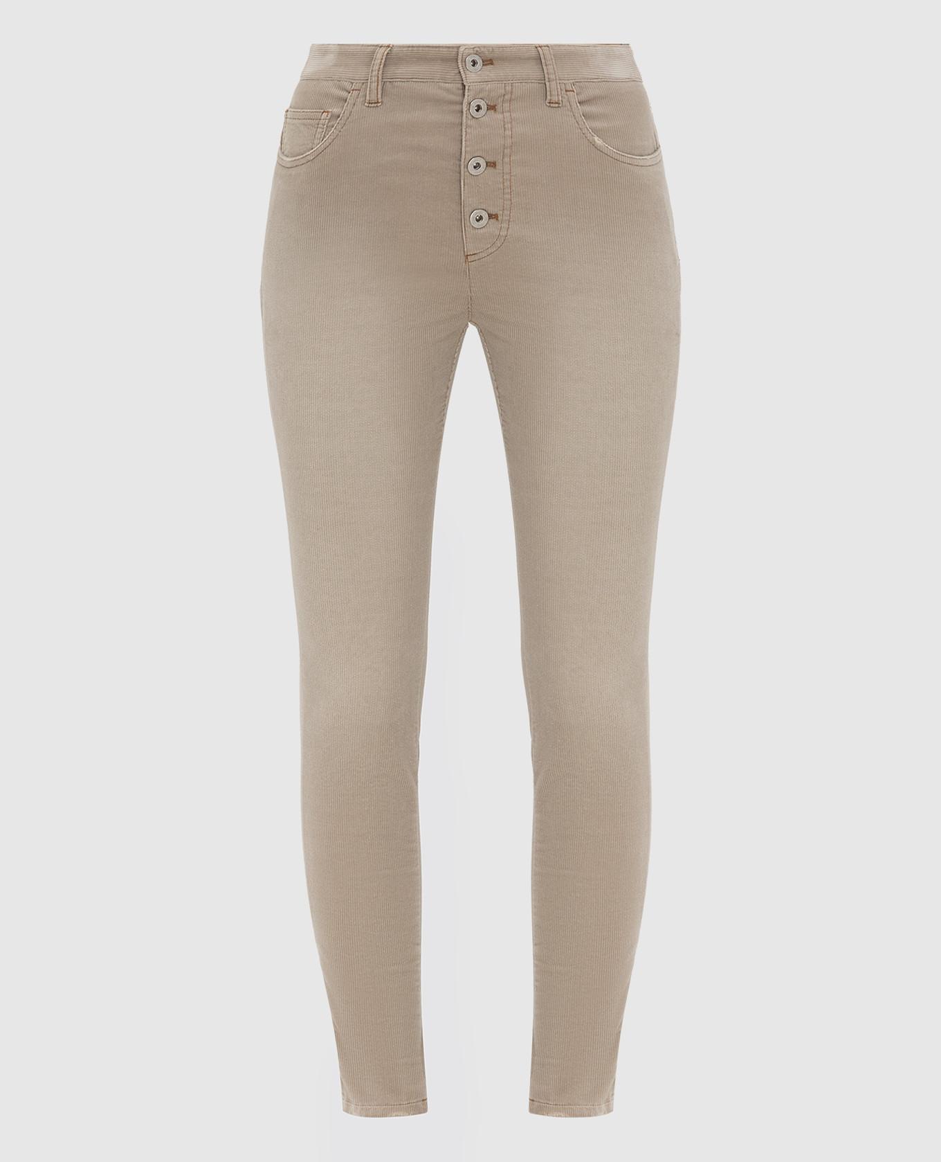 Бежевые вельветовые джинсы