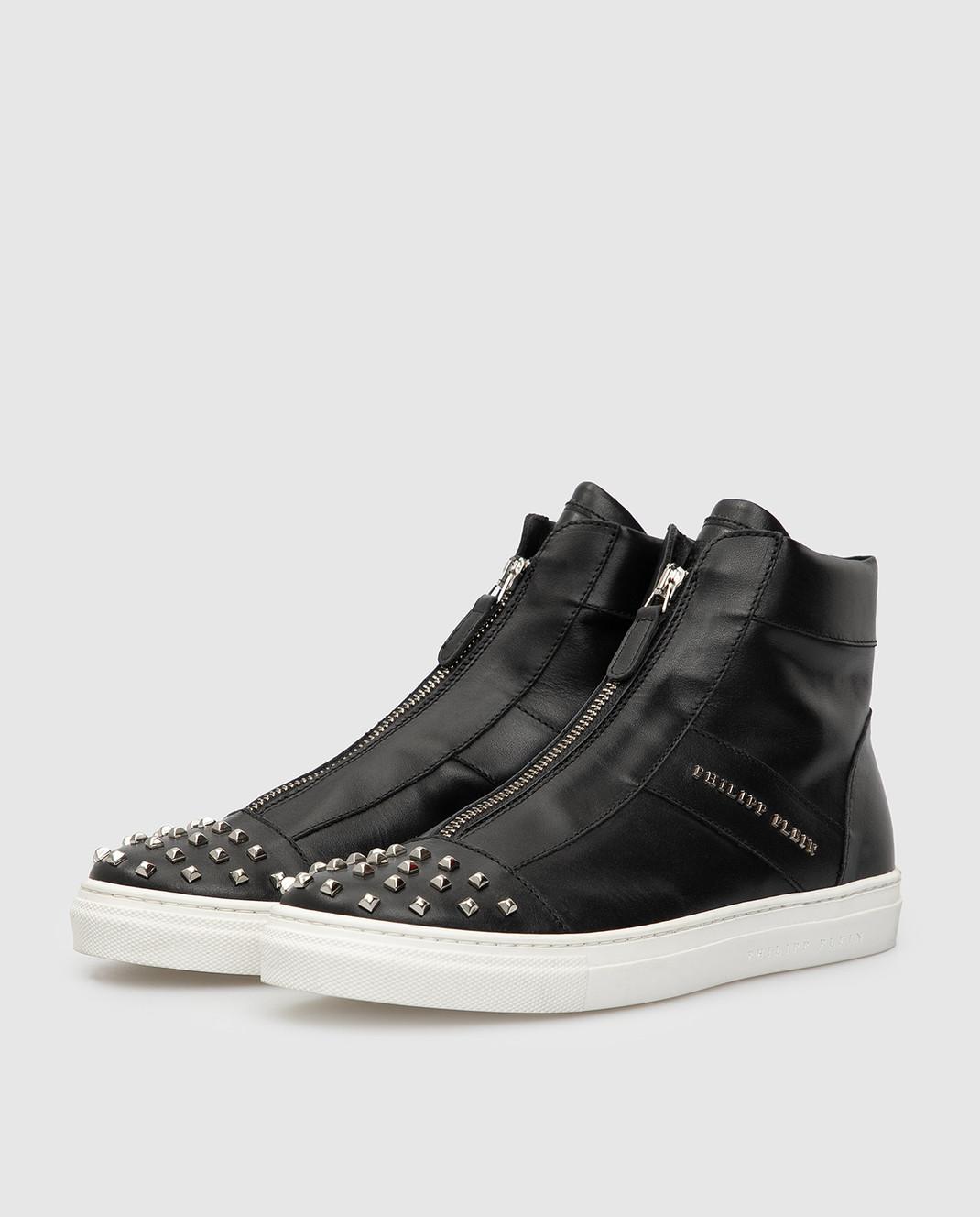 Philipp Plein Детские черные кожаные ботинки BSC0051 изображение 2