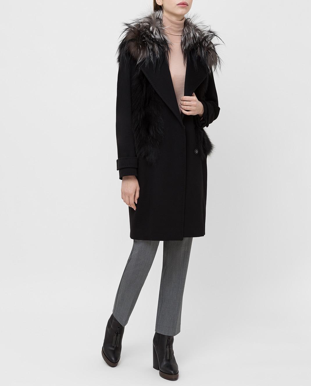 Giuliana Teso Черное пальто из шерсти и кашемира с мехом лисы 64C6060 изображение 2