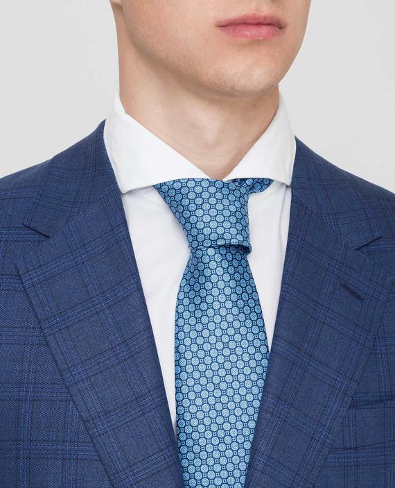Темно-синий галстук ручной работы из шелка hover