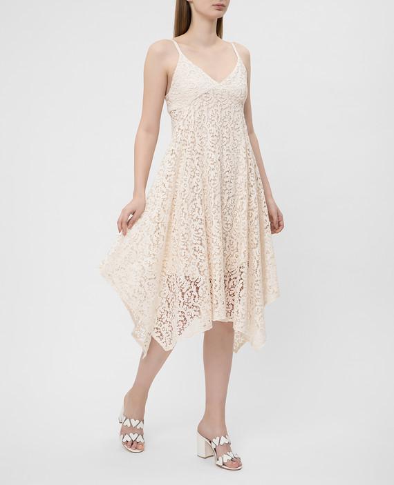 Светло-бежевое платье из кружева hover