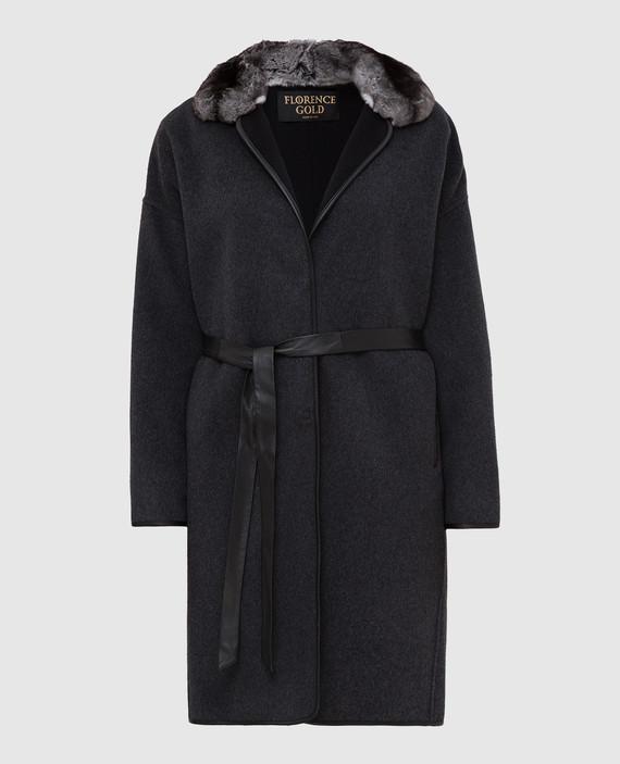 Темно-серое пальто из шерсти и кашемира с мехом шиншиллы