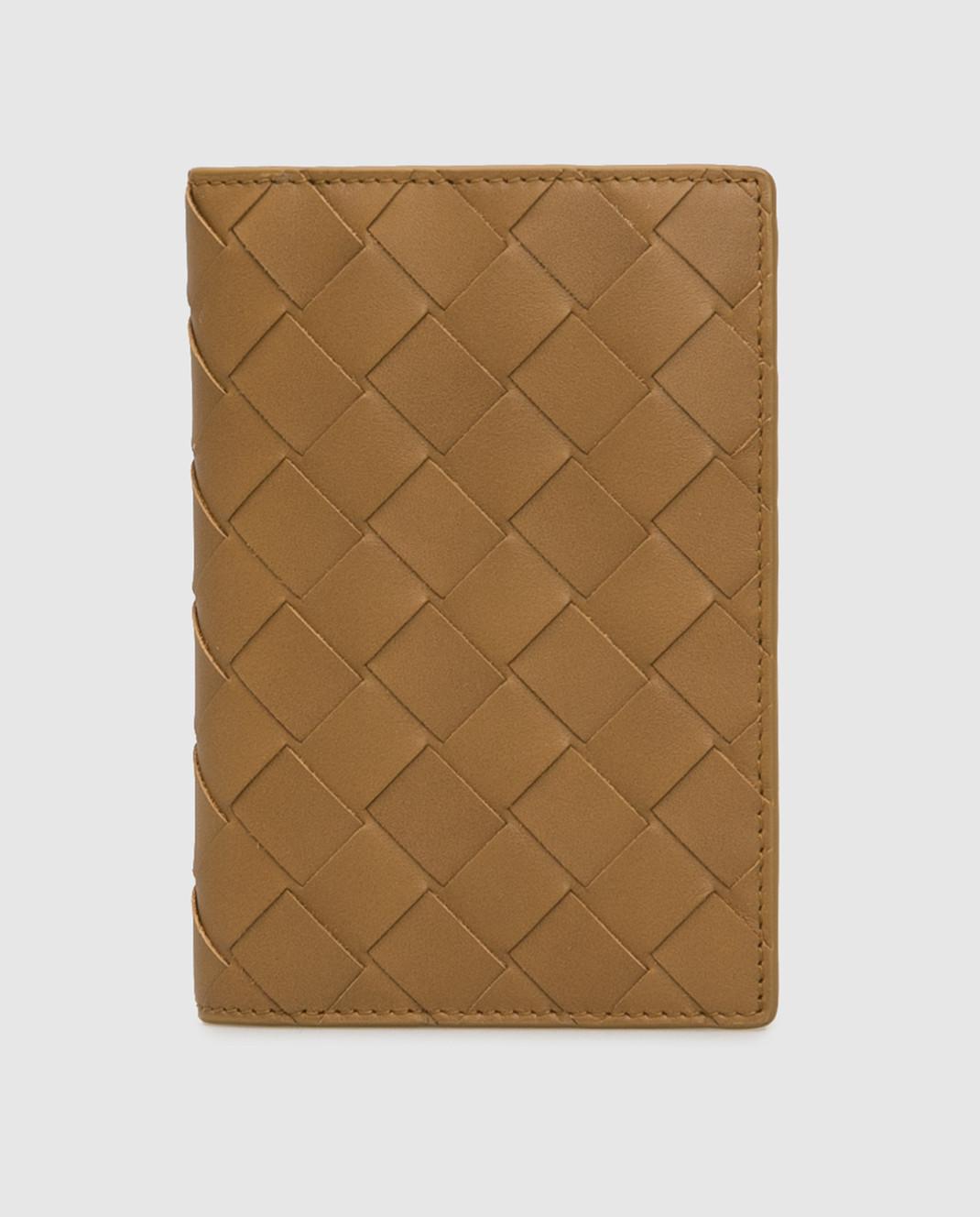 Bottega Veneta Горчичная кожаная обложка для паспорта изображение 1