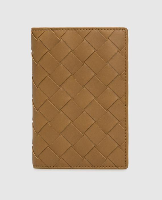 Горчичная кожаная обложка для паспорта