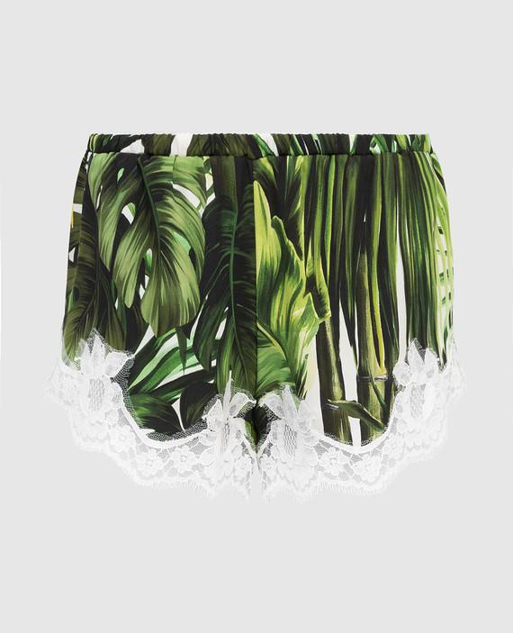 Зеленые шорты из шелка