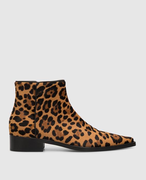 Коричневые ботинки из шерсти пони