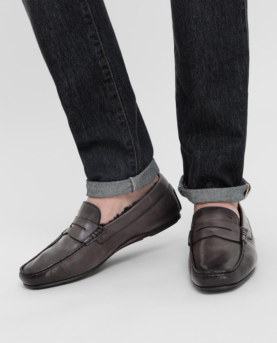 Santoni Темно-серые кожаные мокасины изображение 2