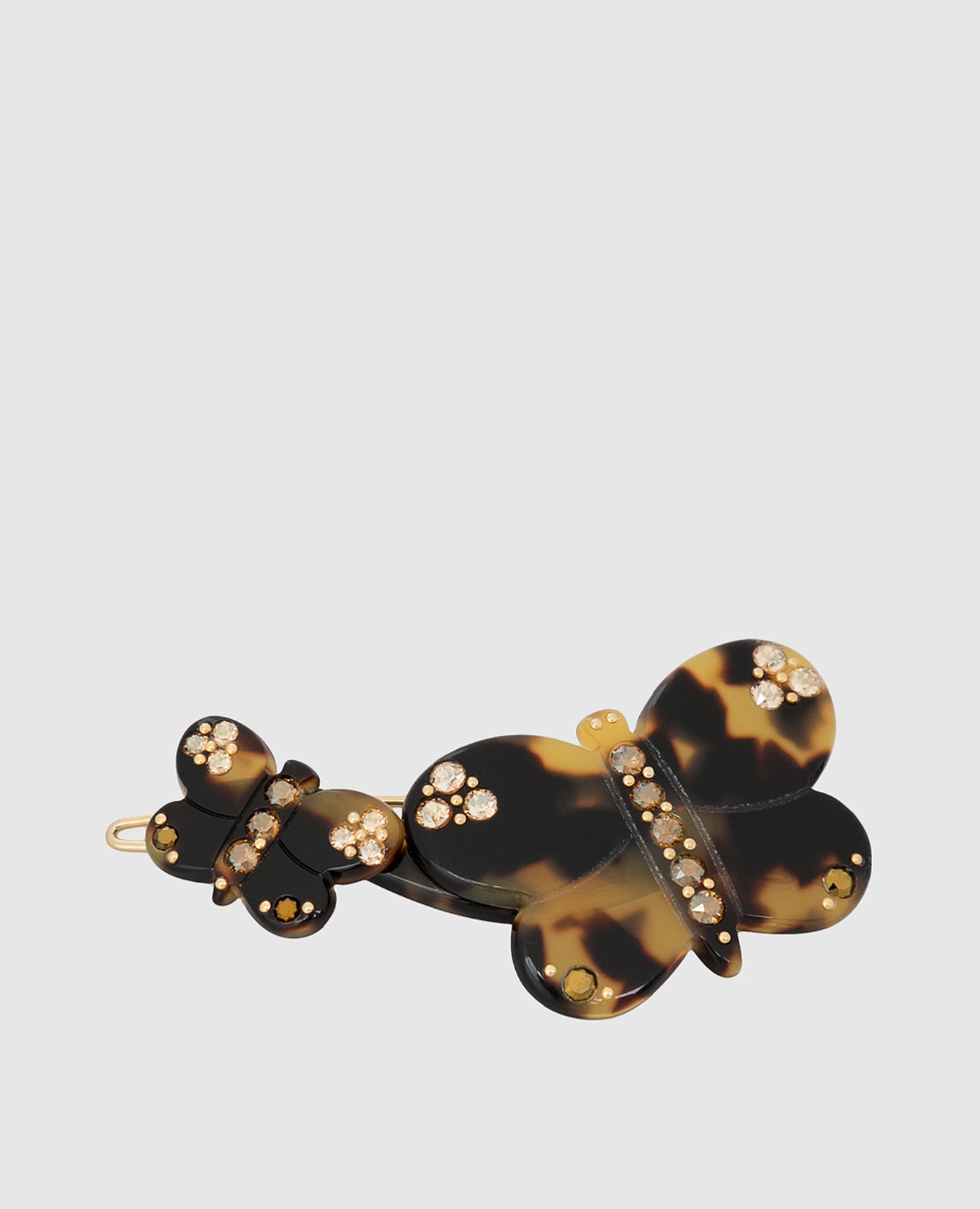 Темно-коричневая заколка с кристаллами
