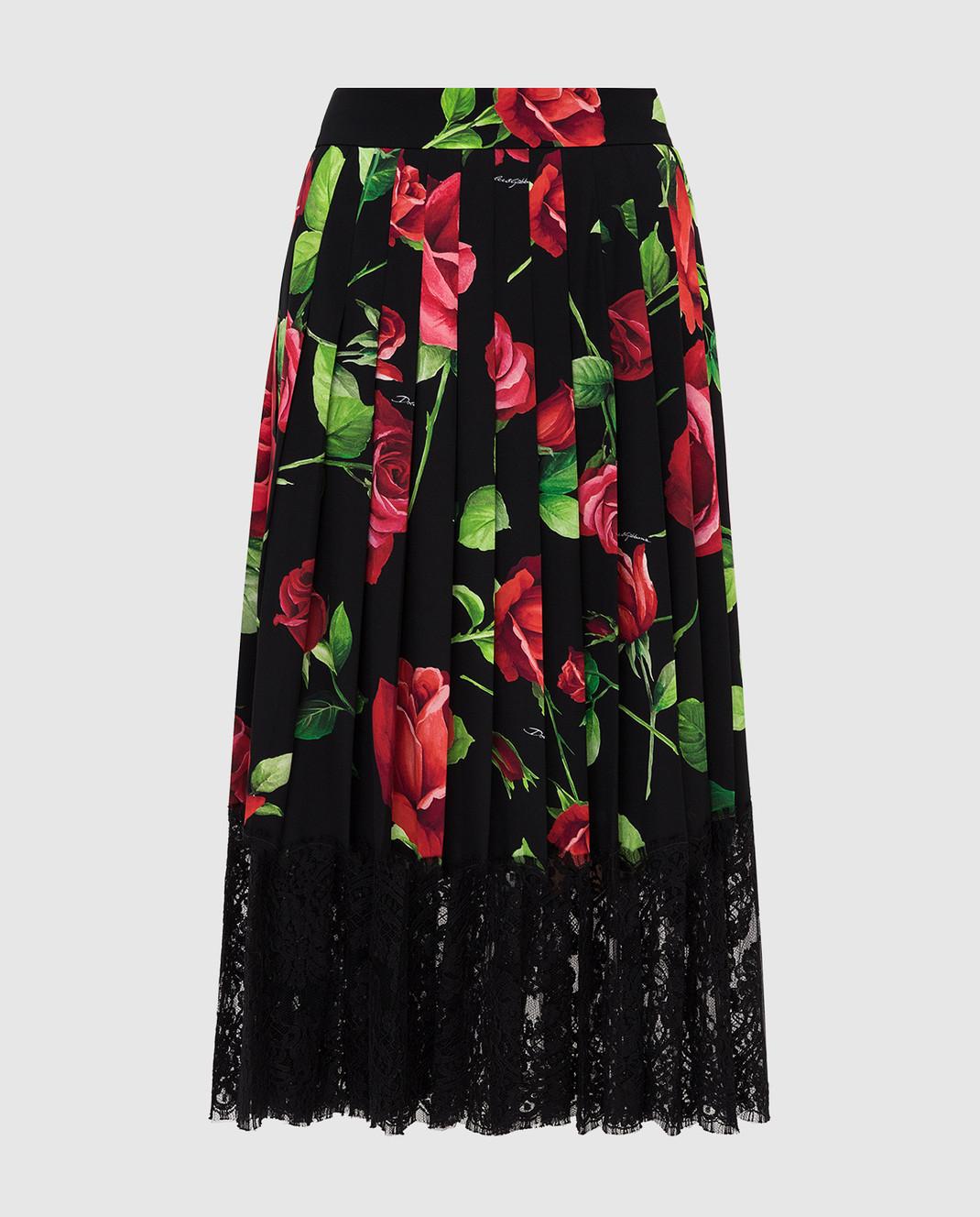 Dolce&Gabbana Черная юбка из шелка F4BFTTFSAY1