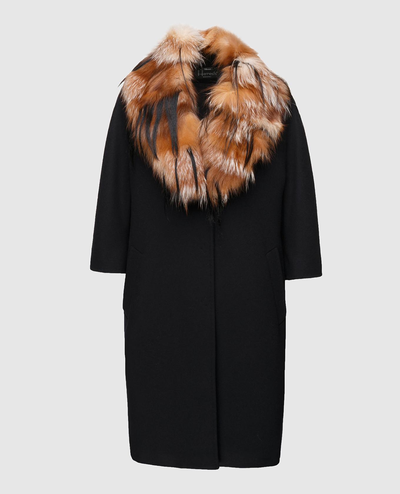 Пальто из шерсти со съемным воротником из меха лисы