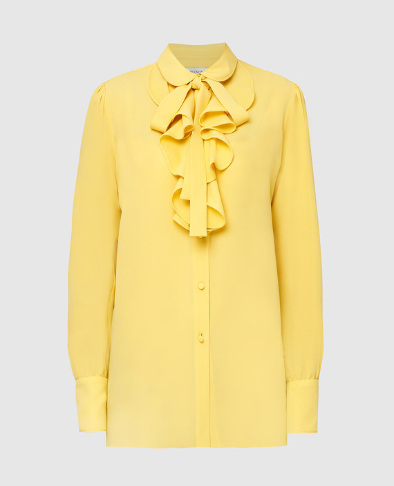 Желтая блузаиз шелка со съемной завязкой