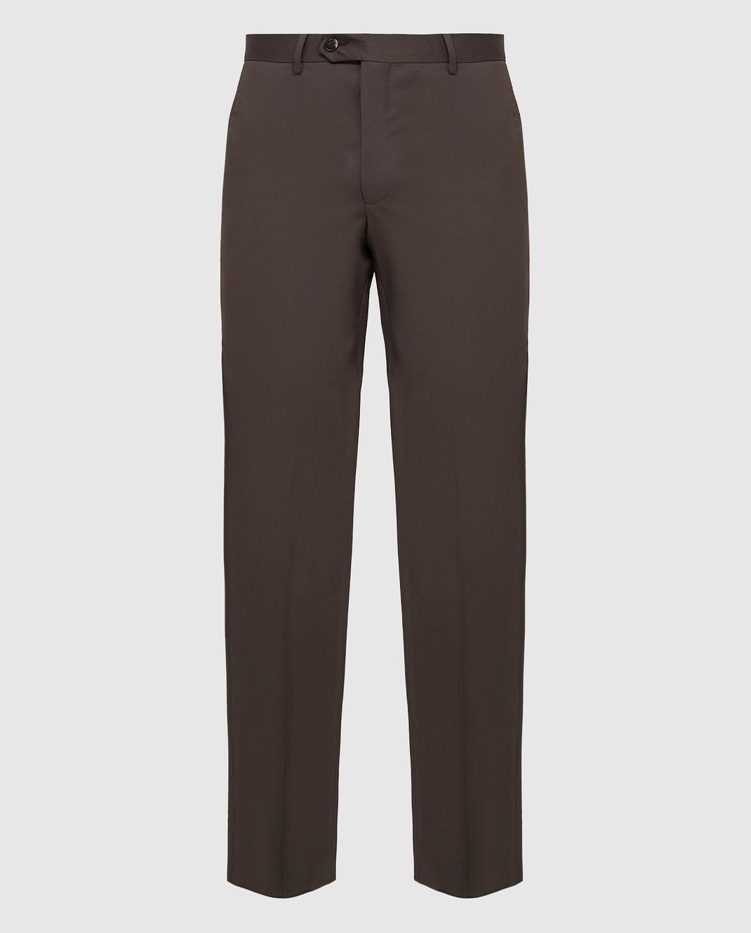 Castello d'Oro Темно-коричневые брюки из шерсти изображение 1