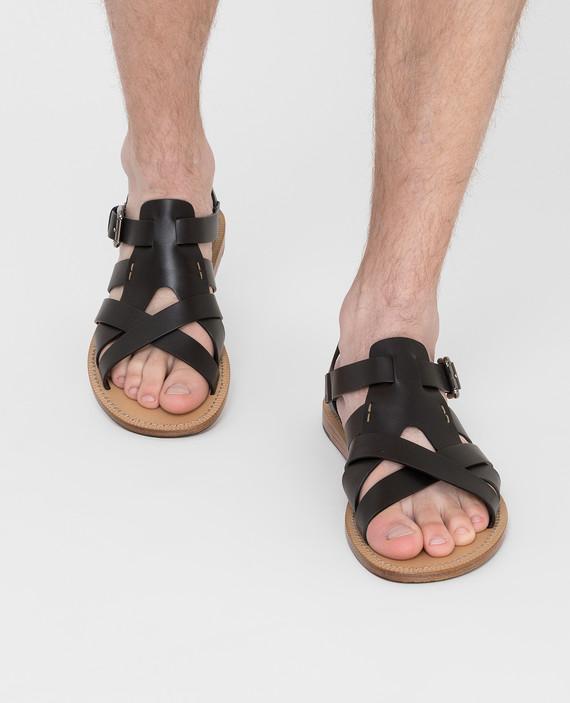 Черные кожаные сандалии hover
