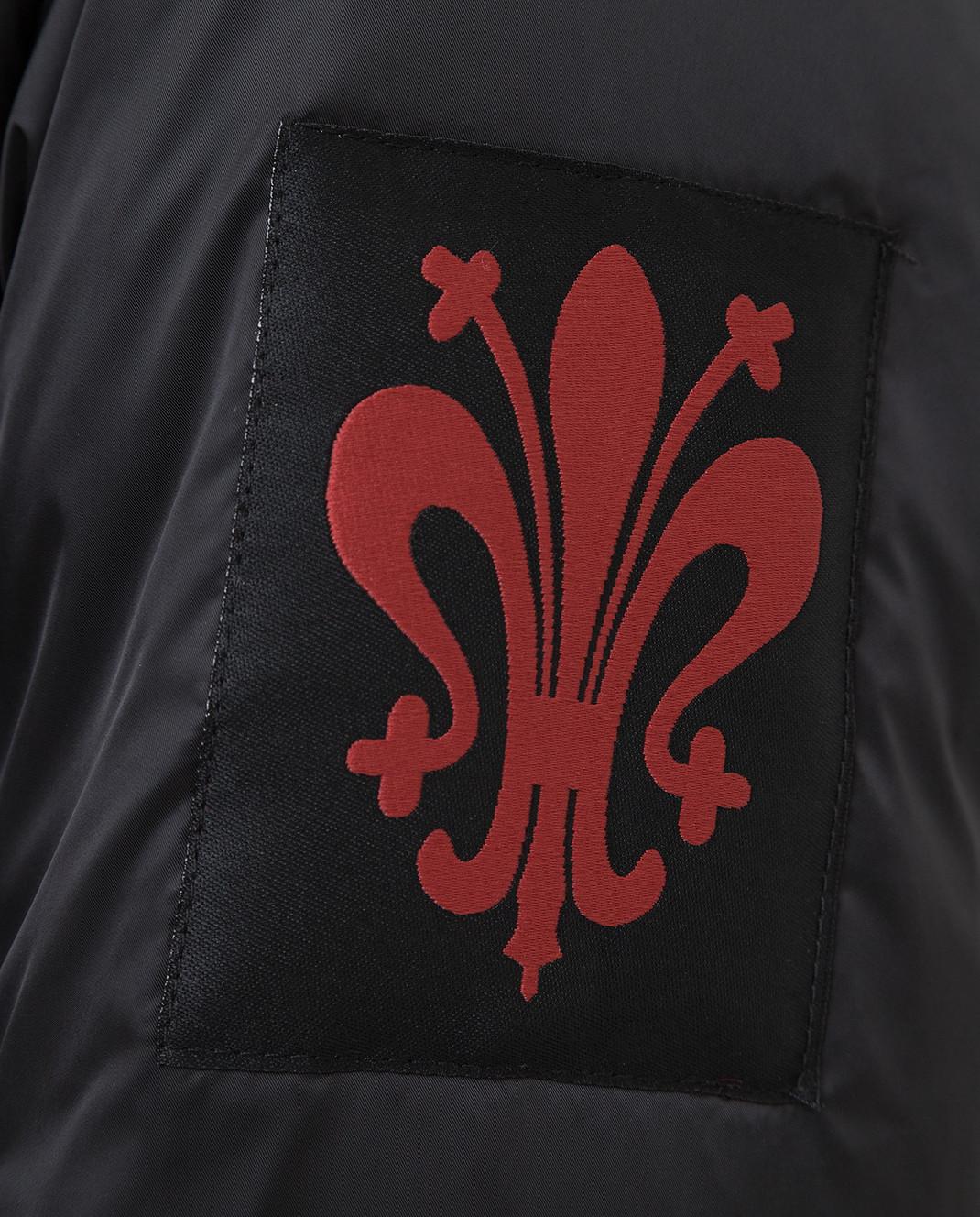 Florence Mode Черный пуховик с воротником из меха лисы 19CA7 изображение 5
