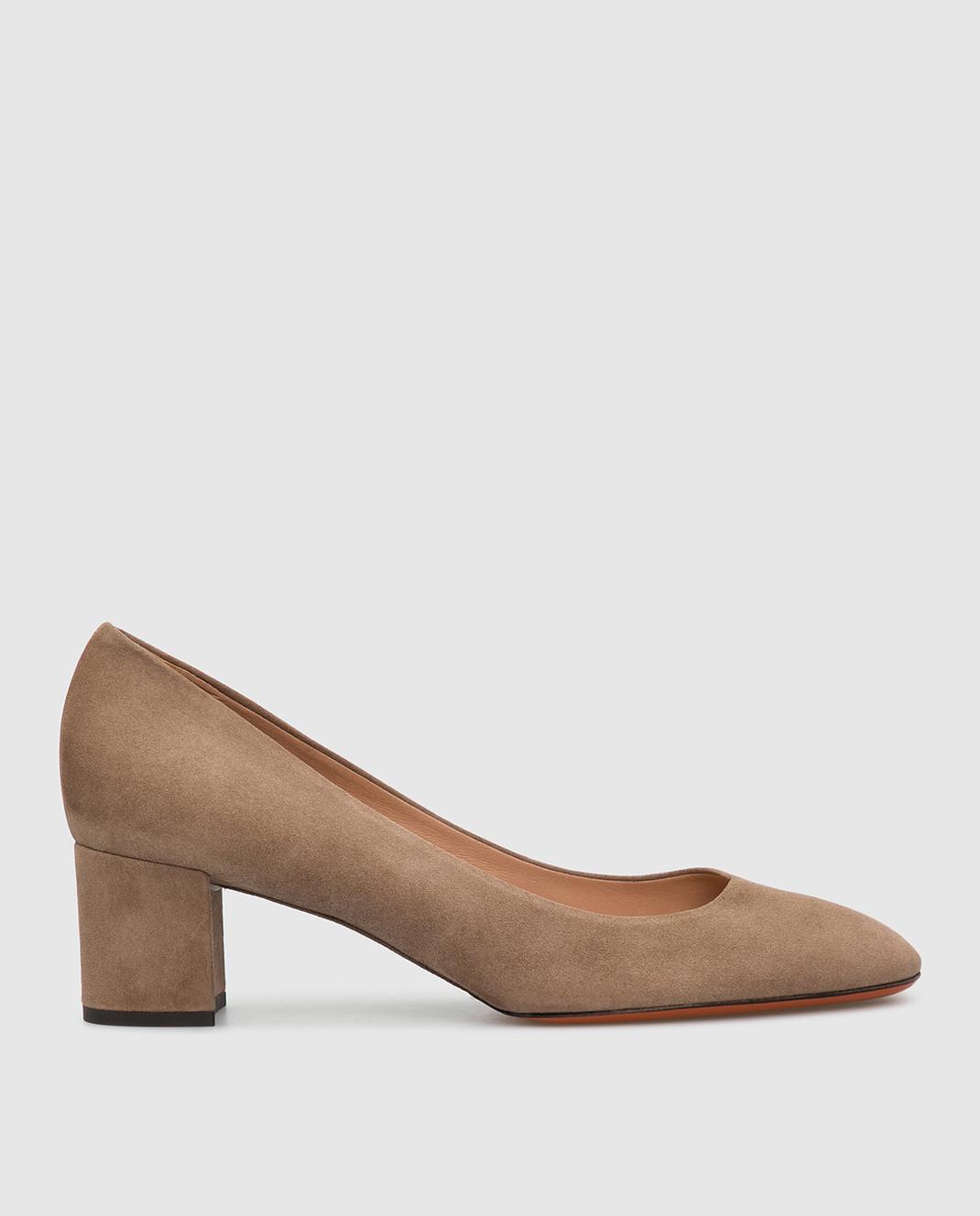 Santoni Бежевые замшевые туфли изображение 1