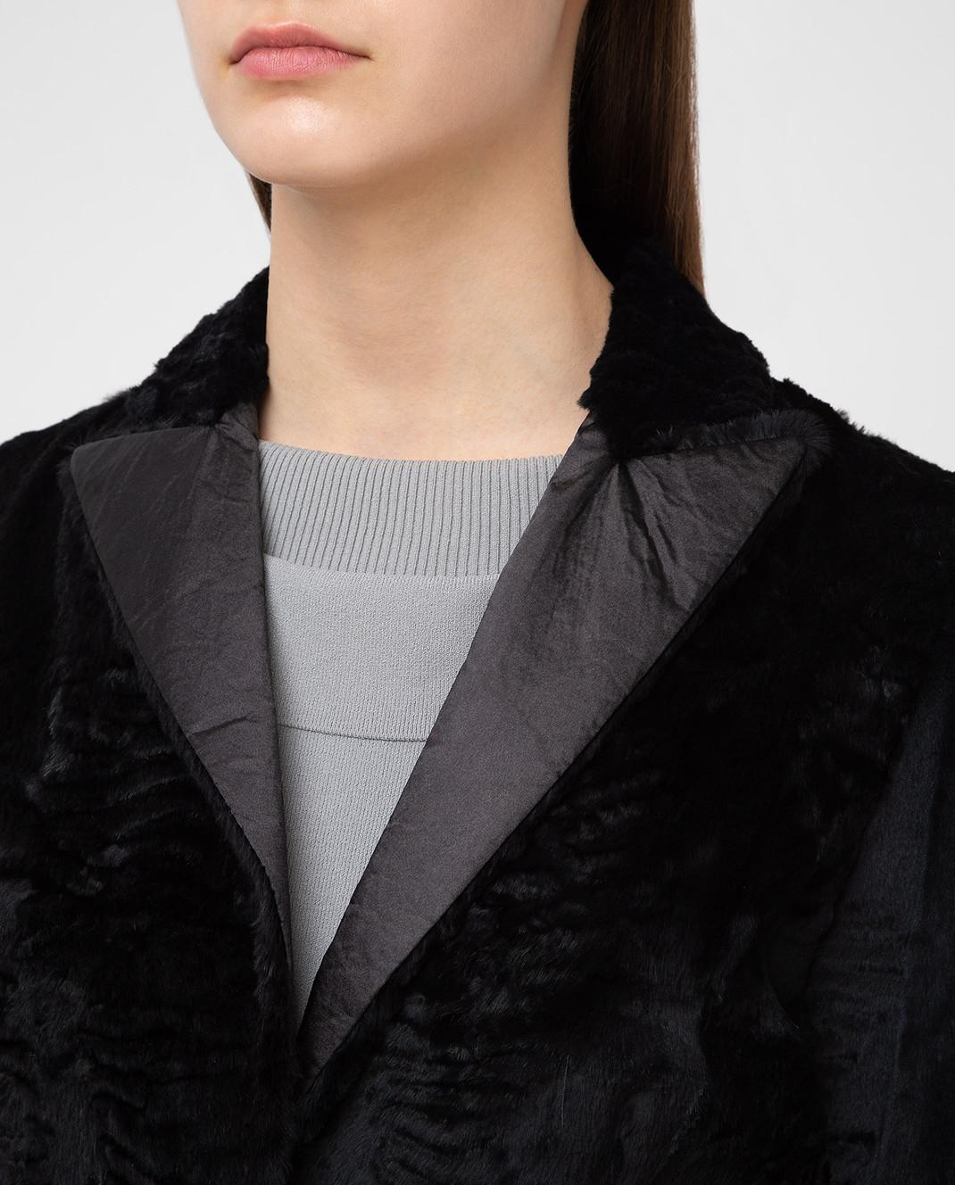 Simonetta Ravizza Черное пальто из кролика GCAPG изображение 5