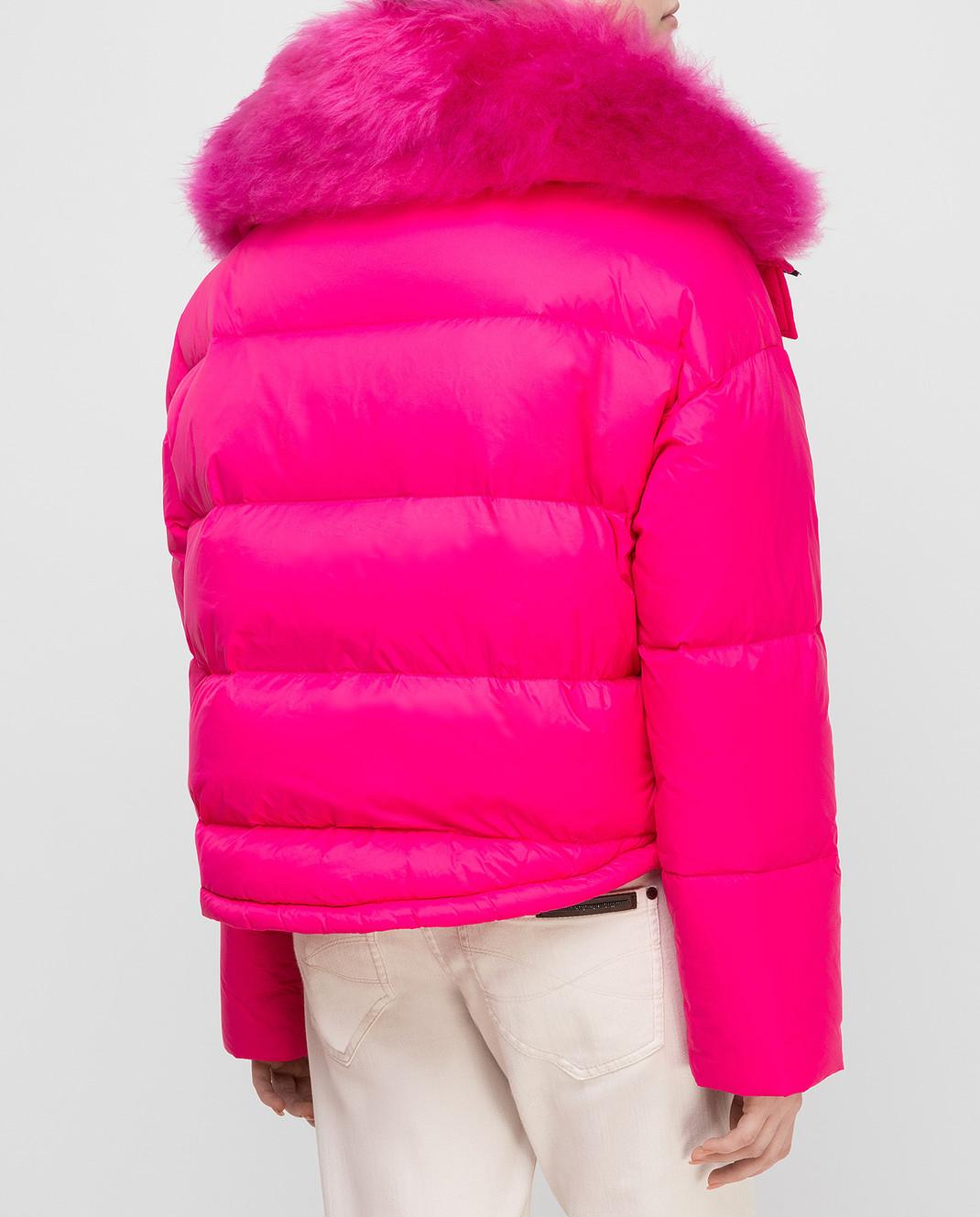 Yves Salomon Army Розовый пуховик с мехом ягненка изображение 4