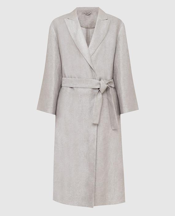 Серебристое пальто из льна