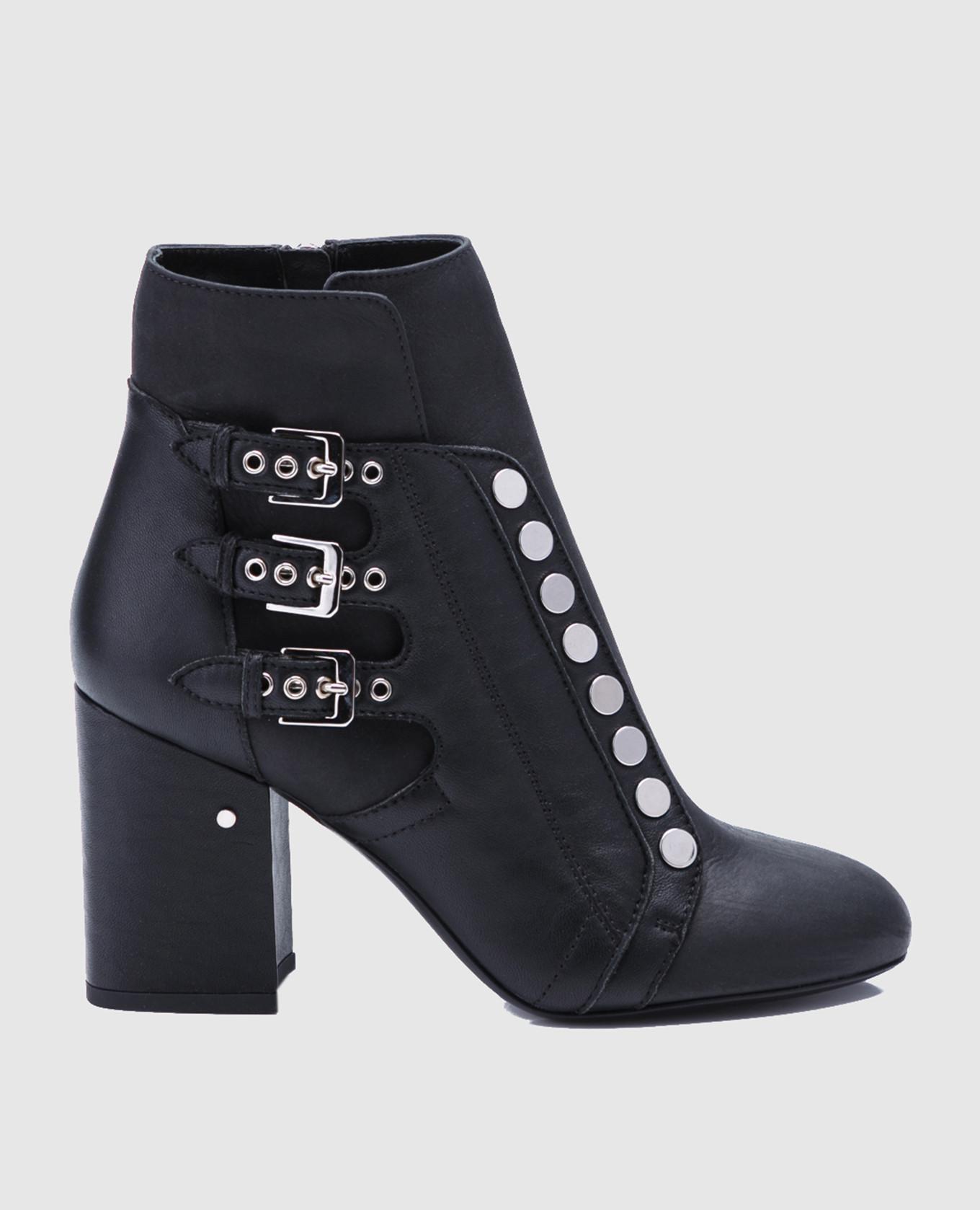 Черные кожаные ботильоны Selena