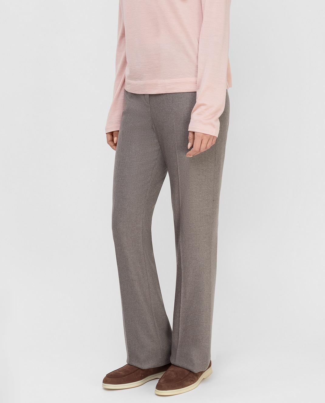 Loro Piana Серые брюки из кашемира F1FAF8151 изображение 3
