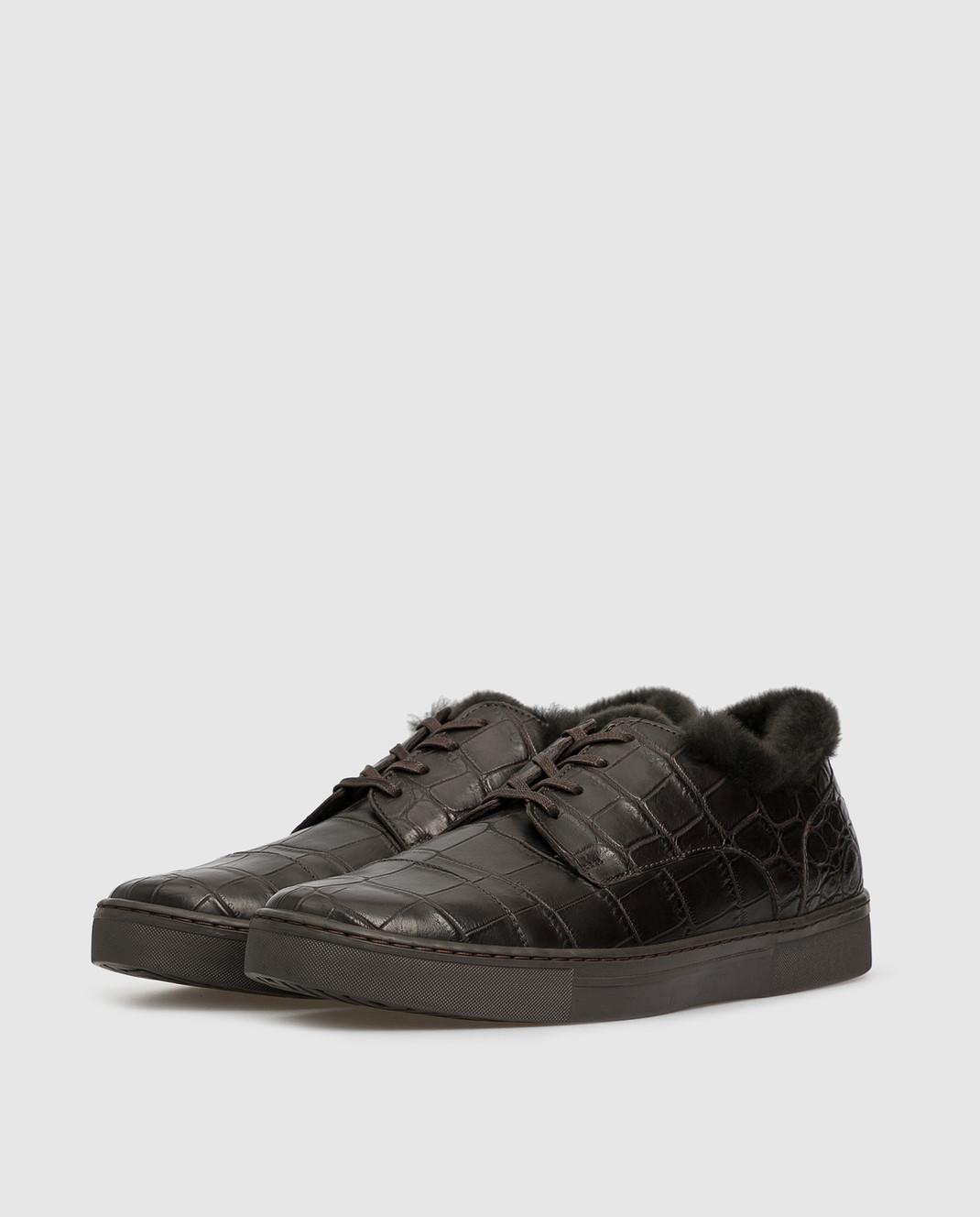 Del Dami Темно-коричневые ботинки из кожи крокодила на меху 3604 изображение 3