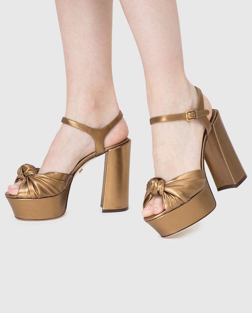 Dolce&Gabbana Золотистые кожаные босоножки CR0695A1016 изображение 2