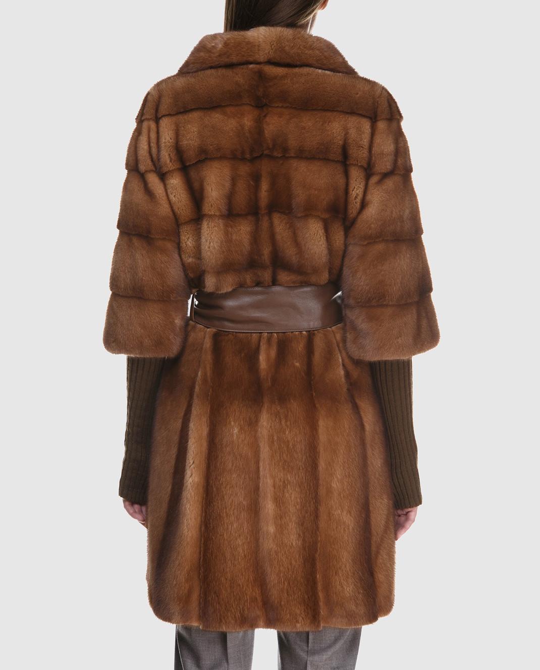 Florence Mode Коричневая шуба из меха норки с поясом и митенками изображение 4