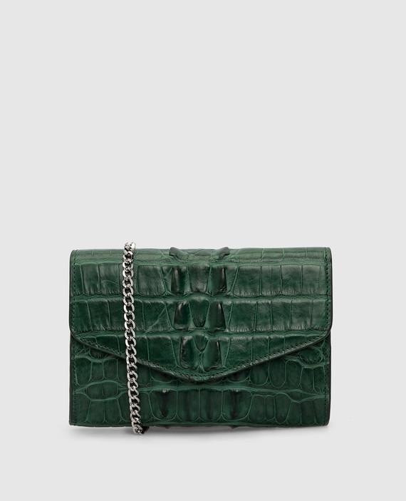Зеленая сумка из кожи крокодила