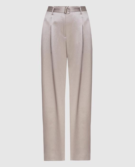 Серые брюки из шелка