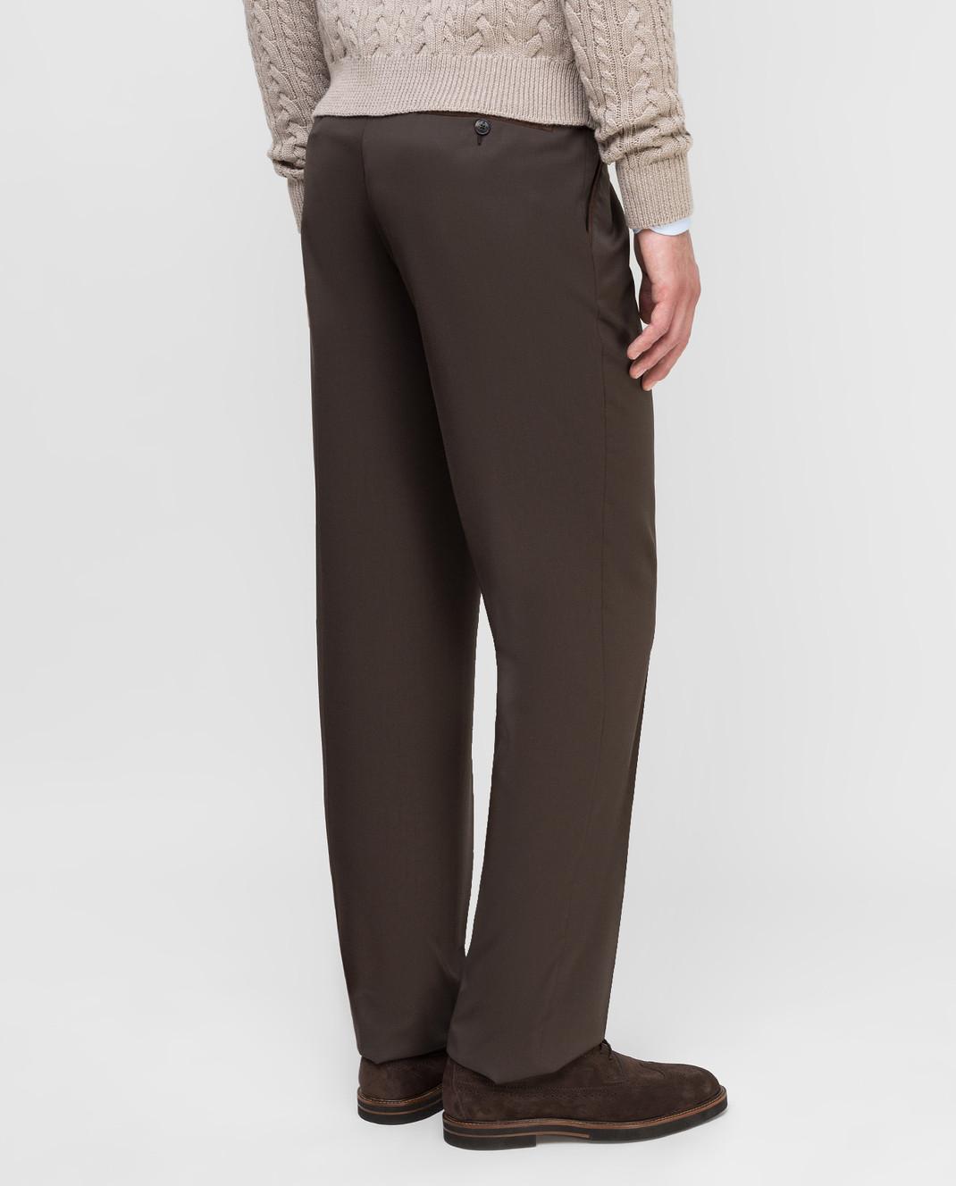 Castello d'Oro Темно-коричневые брюки из шерсти изображение 4