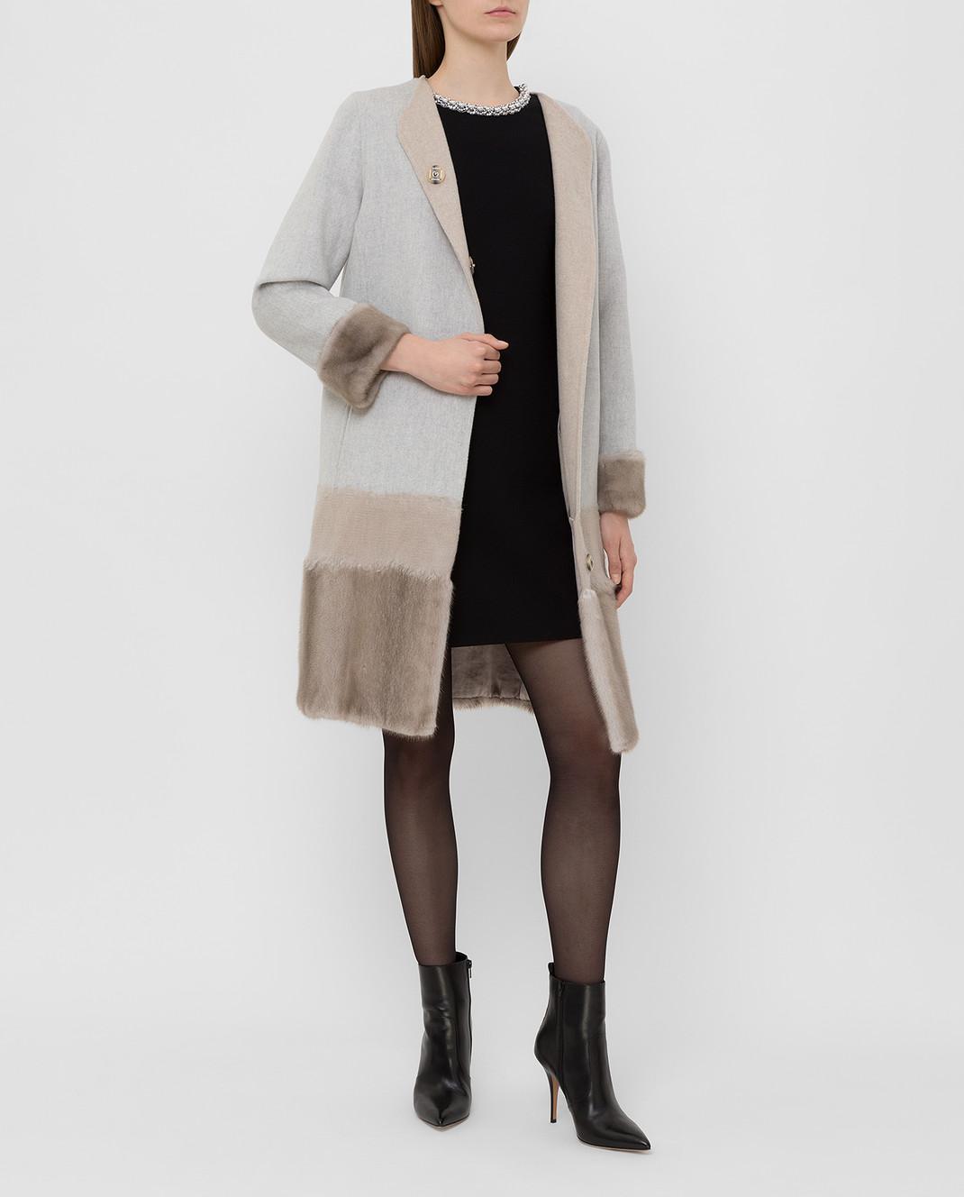 Rindi Серое пальто из шерсти и кашемира с мехом норки 295TE0R6 изображение 2