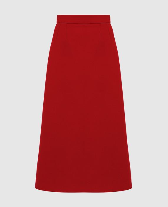 Красная юбка из шерсти
