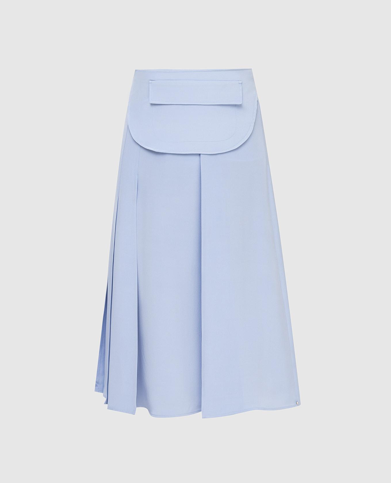 Голубая юбка из шелка
