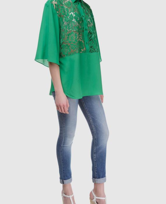 Зеленая блуза из шелка hover