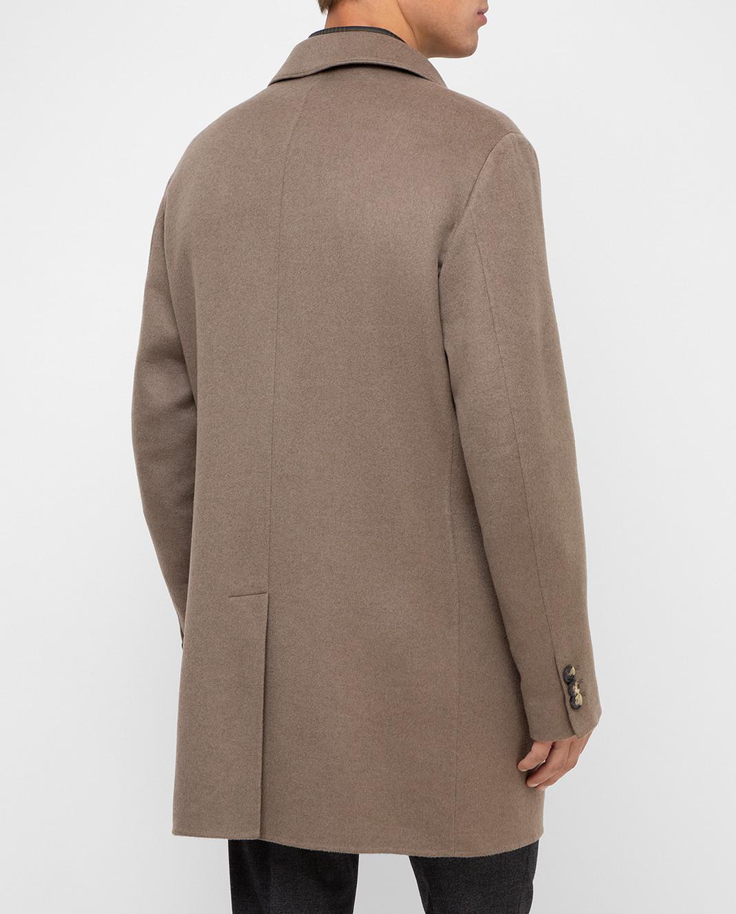 Loro Piana Темно-бежевое пальто из кашемира F1FAI2410 изображение 4