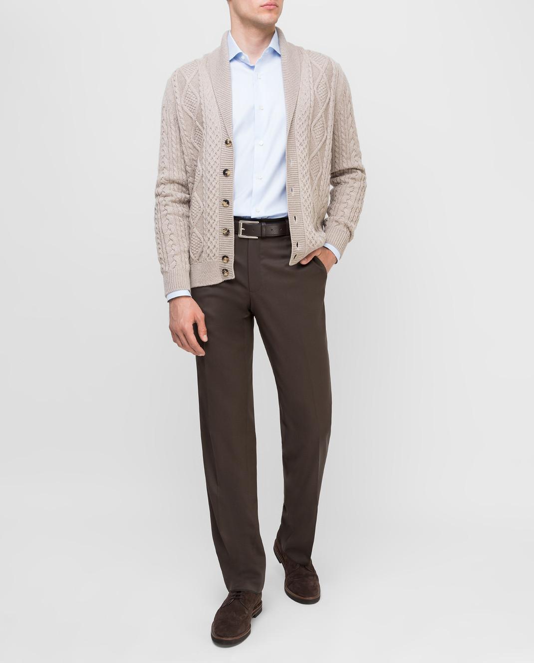 Castello d'Oro Темно-коричневые брюки из шерсти изображение 2