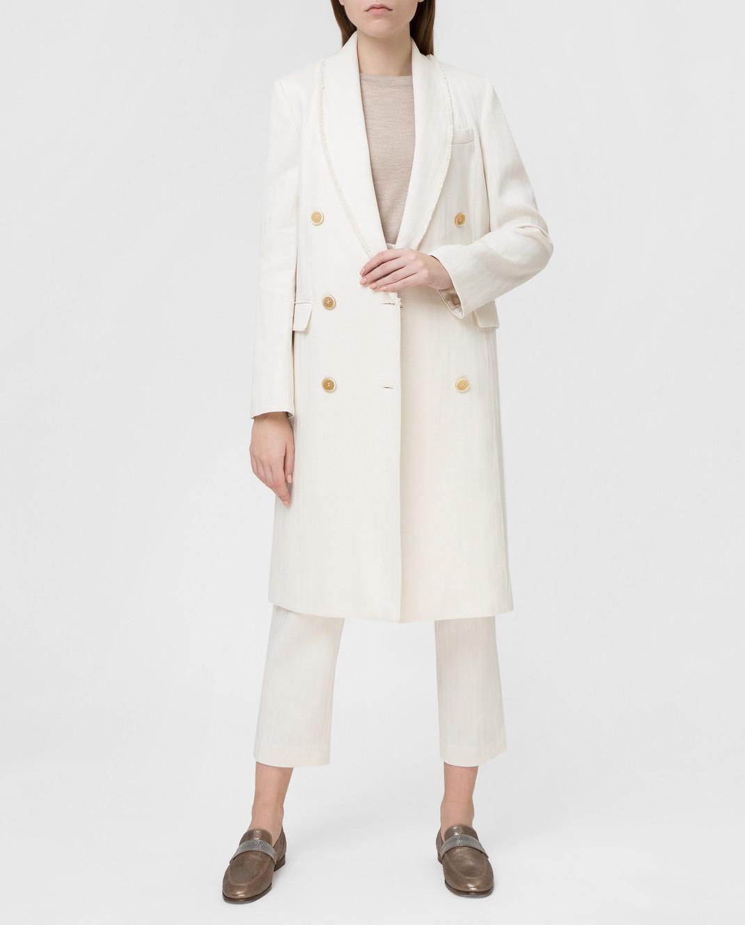 Brunello Cucinelli Белое пальто MF5779291 изображение 2