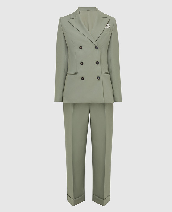 Зеленый костюм из шерсти