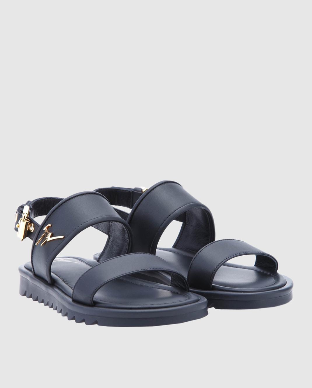 Giuseppe Zanotti Детские черные кожаные сандалии SBE8409001 изображение 2